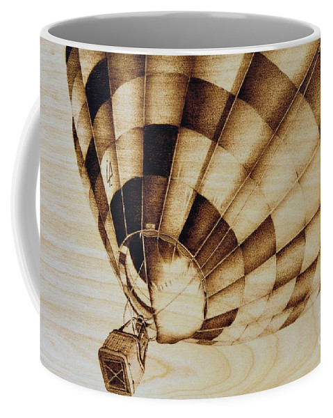 Balloon Coffee Mug featuring the pyrography Up by Ilaria Andreucci