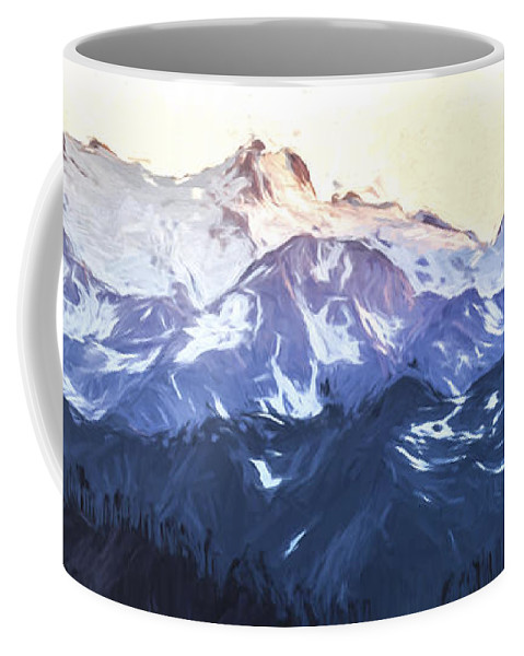 Art Coffee Mug featuring the digital art Up In The Mountains II by Jon Glaser