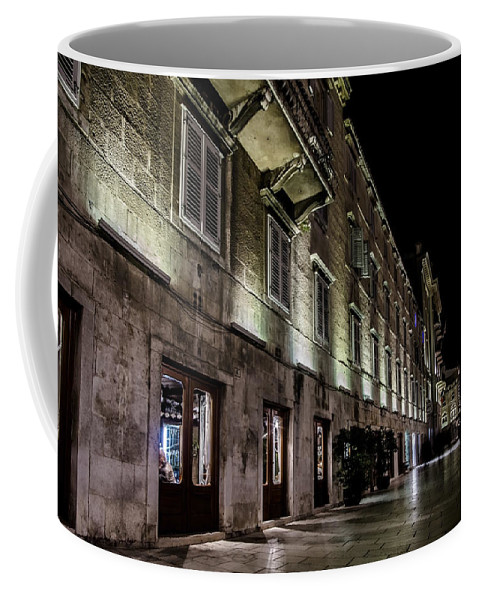 Up Lighting Coffee Mug featuring the photograph Up Lighting On A European Building At Night by Sven Brogren