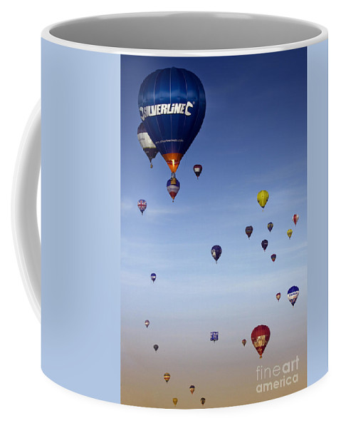Balloon Fiesta Coffee Mug featuring the photograph Up Up And Away by Angel Ciesniarska