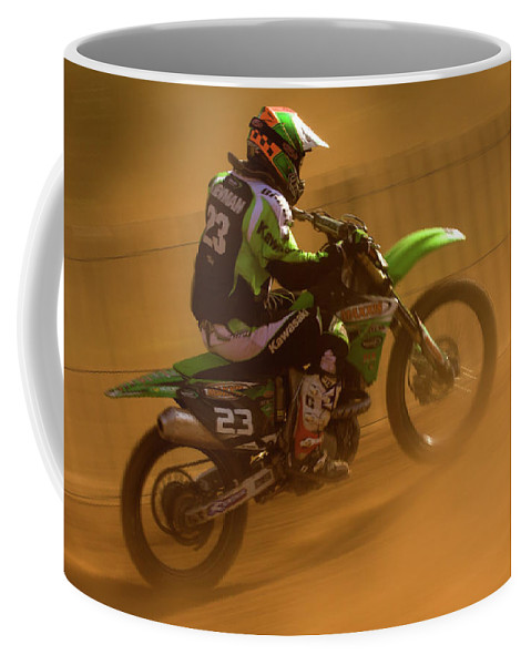 Bike Coffee Mug featuring the photograph Uphill In The Dust by Angel Ciesniarska