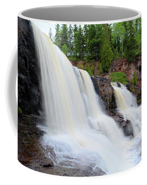Nature Coffee Mug featuring the photograph Upper Gooseberry Falls by Bonfire Photography