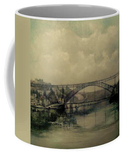 Douro River Coffee Mug featuring the painting Upstream -bridge D.luis I-oporto by Tomas Castano