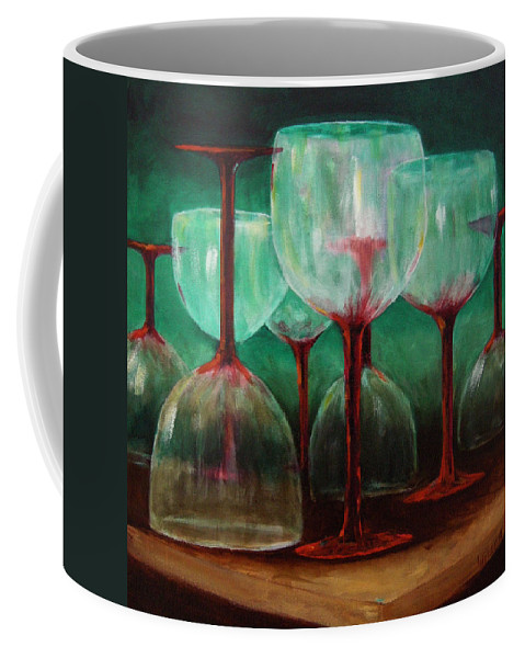 Oil Coffee Mug featuring the painting Upsidedown by Linda Hiller