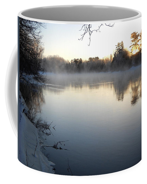 Sunrise Coffee Mug featuring the photograph Upstream Mississippi River After Ice Out by Kent Lorentzen