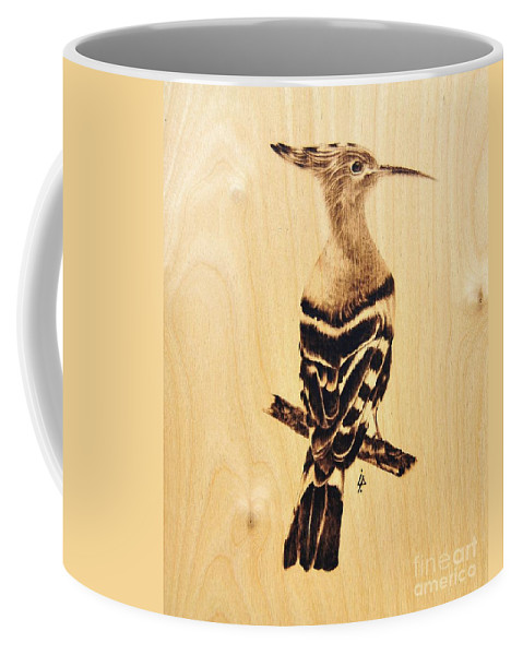 Upupa Coffee Mug featuring the pyrography Upupa by Ilaria Andreucci