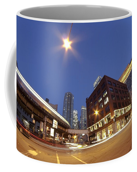 Urban Dusk Scene Coffee Mug featuring the photograph Urban Curves Of Light by Sven Brogren