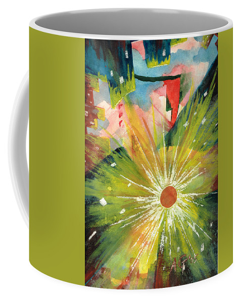 Downtown Coffee Mug featuring the painting Urban Sunburst by Andrew Gillette