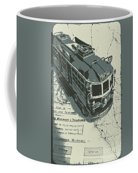 Tram Coffee Mug featuring the photograph Urban Trams And Old Maps by Jorgo Photography - Wall Art Gallery