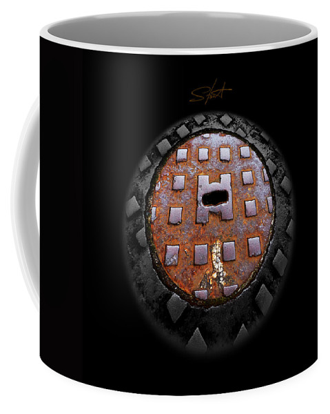 Manhole Coffee Mug featuring the photograph Urban Voice Button by Charles Stuart