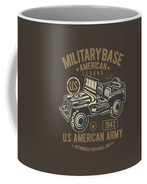 Jeep Coffee Mug featuring the digital art Us American Amry Jeep by Robinvd