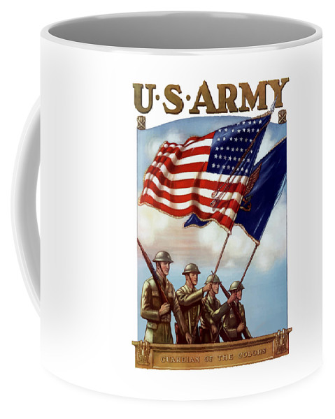 Us Army Coffee Mug featuring the painting Us Army -- Guardian Of The Colors by War Is Hell Store
