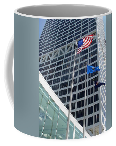 Us Bank Coffee Mug featuring the photograph Us Bank With Flags by Anita Burgermeister