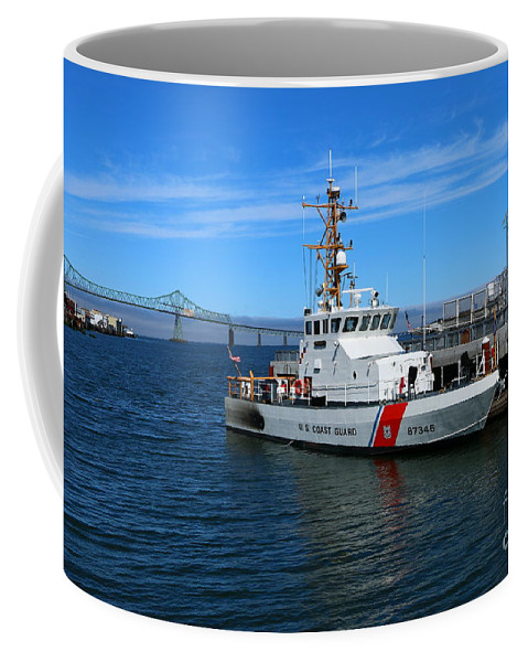 Astoria Coffee Mug featuring the photograph Us Coast Guard On Columbia River by Christiane Schulze Art And Photography