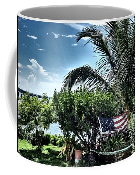 Amerian Flag Coffee Mug featuring the photograph US Flag in the Abaco Islands, Bahamas by Cindy Ross