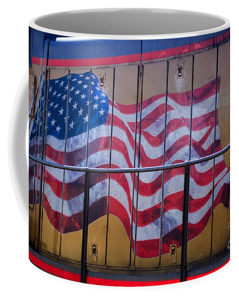Flag Coffee Mug featuring the photograph Us Flag On Side Of Freight Engine by Thomas Marchessault