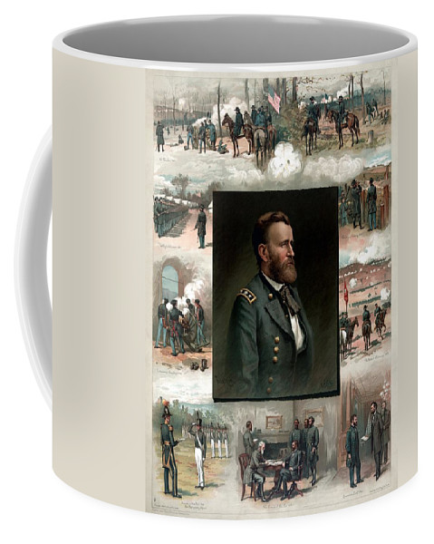 President Grant Coffee Mug featuring the painting Us Grant's Career In Pictures by War Is Hell Store