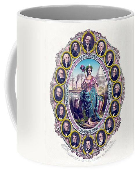 Presidents Coffee Mug featuring the drawing Us Presidents And Lady Liberty by War Is Hell Store