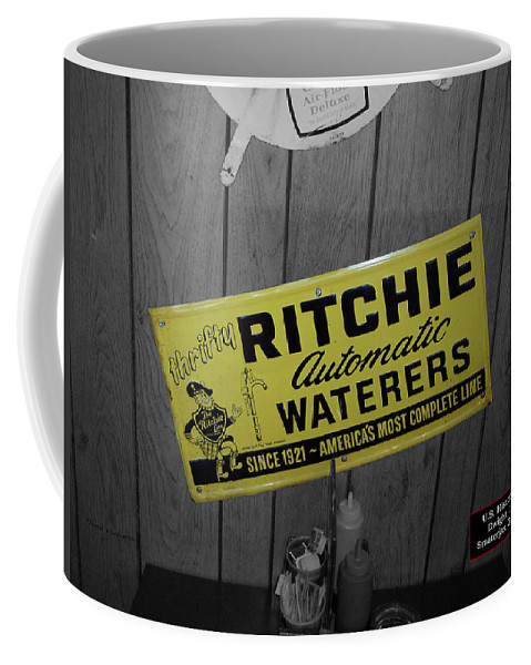 Signage Coffee Mug featuring the photograph Us Route 66 Smaterjax Dwight Il Rare Waterers Signage by Thomas Woolworth