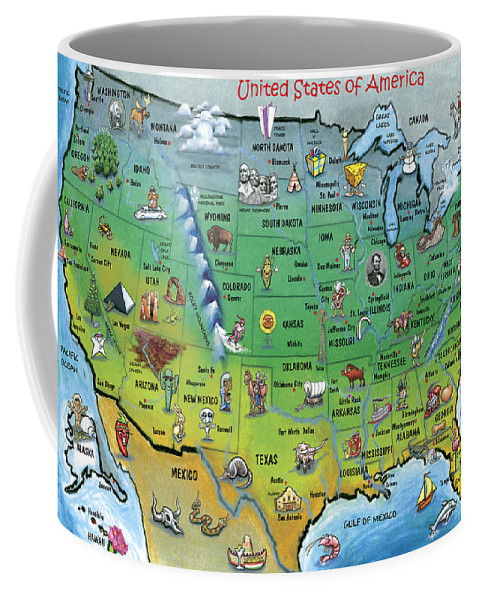 Map Coffee Mug featuring the painting Usa Cartoon Map by Kevin Middleton