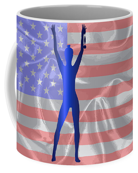 Medal Coffee Mug featuring the digital art Usa Winner Background by Bigalbaloo Stock