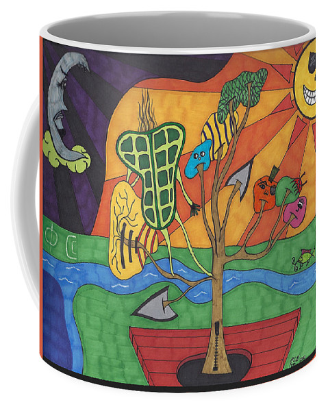 Moon Coffee Mug featuring the drawing Jealous Moon by Johnny Huff
