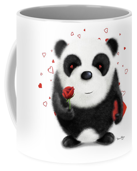 Panda Coffee Mug featuring the digital art Valentine's Panda by Dana Alfonso