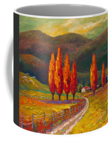 Italian Coffee Mug featuring the mixed media Valley Farm by Marion Rose
