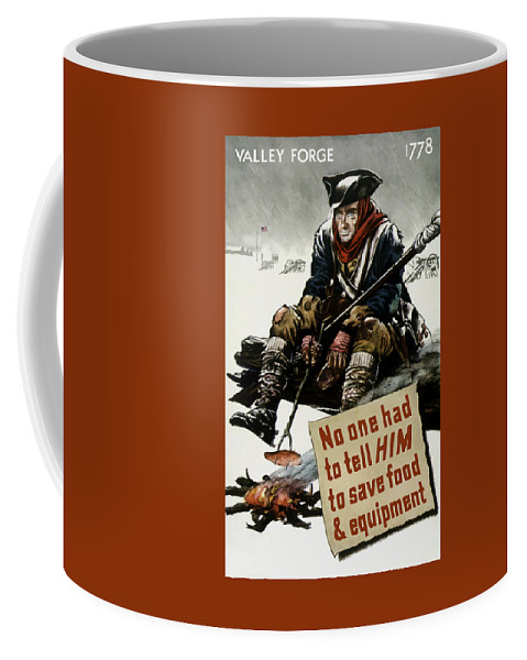 World War Ii Coffee Mug featuring the painting Valley Forge Soldier - Conservation Propaganda by War Is Hell Store