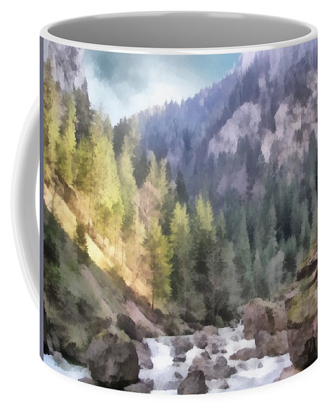 Carpathian Coffee Mug featuring the painting Valley Of Light And Shadow by Jeffrey Kolker