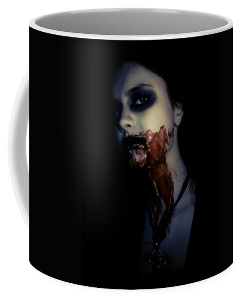 Vampire Coffee Mug featuring the photograph Vampire Feed by Kelly Jade King