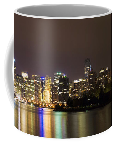 Vancouver Coffee Mug featuring the photograph Vancouver By Night by Louise Magno