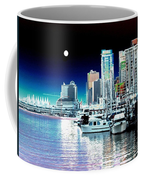 Vancouver Harbor Coffee Mug featuring the digital art Vancouver Harbor Moonrise by Will Borden