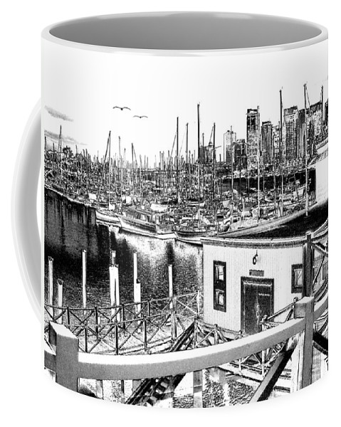 Vancouver Coffee Mug featuring the digital art Vancouver Waterfront by Will Borden