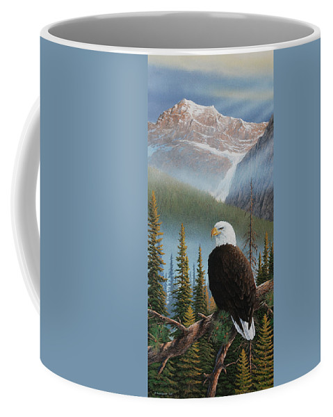 Eagle Coffee Mug featuring the painting Vantage Point by Jake Vandenbrink