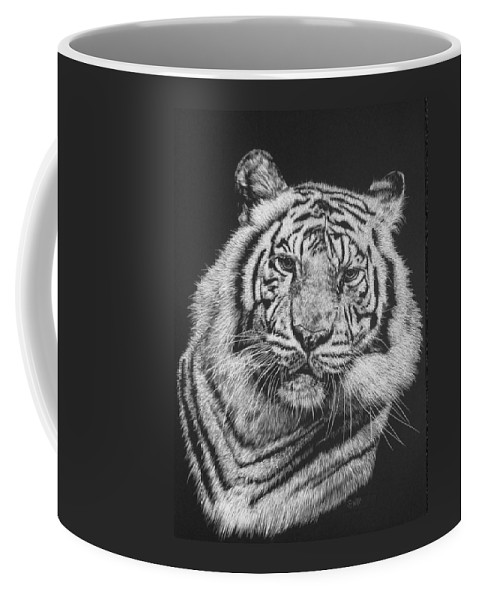Tiger Coffee Mug featuring the drawing Variance by Barbara Keith