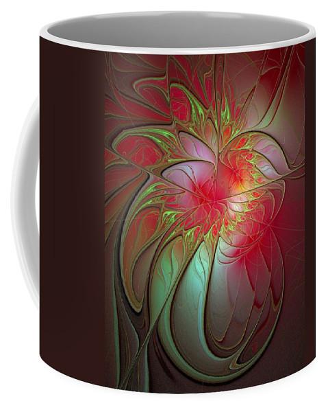 Digital Art Coffee Mug featuring the digital art Vase Of Flowers by Amanda Moore