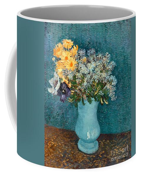 Vase Coffee Mug featuring the painting Vase Of Flowers by Vincent Van Gogh