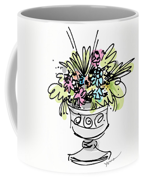 Greetings Coffee Mug featuring the digital art Vase With Flowers by Yvonne Wright