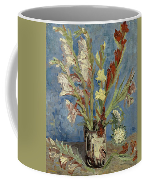 Flower Coffee Mug featuring the painting Vase With Gladioli And Chinese Asters by Artistic Panda