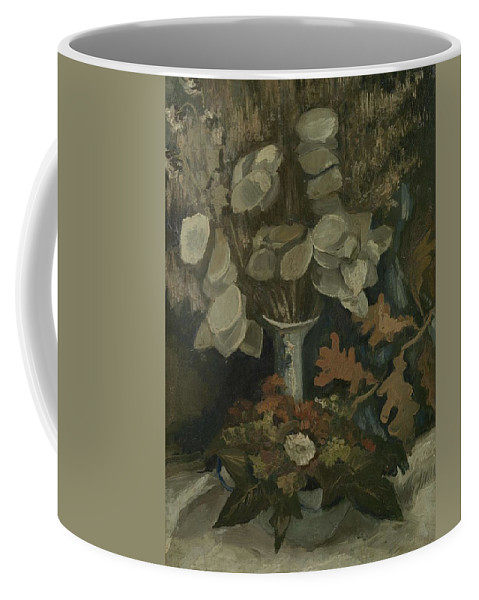 Art Coffee Mug featuring the painting Vase With Honesty Nuenen, Autumn - Winter 1884 Vincent Van Gogh 1853 1890 by Artistic Panda