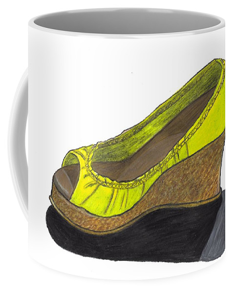 Shoe Coffee Mug featuring the drawing Vegas Shoes by Jean Haynes