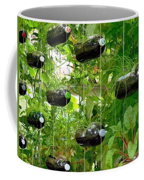 Vegetable Growing In Used Water Bottle Coffee Mug featuring the painting Vegetable Growing In Used Water Bottle 4 by Jeelan Clark