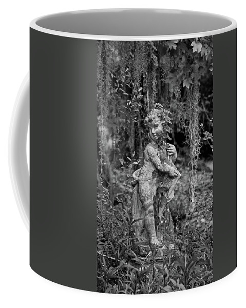 Statue Coffee Mug featuring the digital art Veil Of Vines Black And White by DigiArt Diaries by Vicky B Fuller