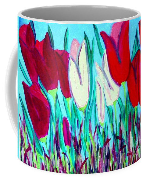 Tulips Coffee Mug featuring the painting Velvet Tulips by Laurie Morgan