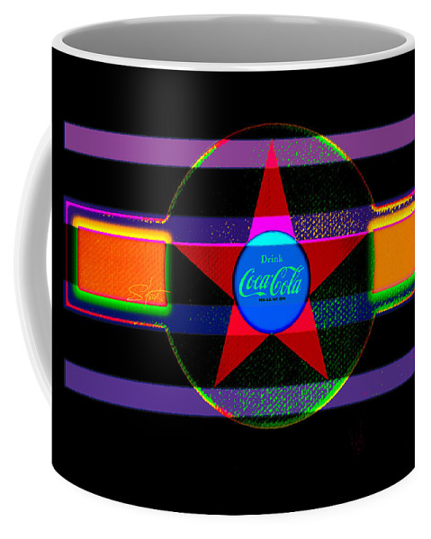 Label Coffee Mug featuring the painting Venetion Neon by Charles Stuart