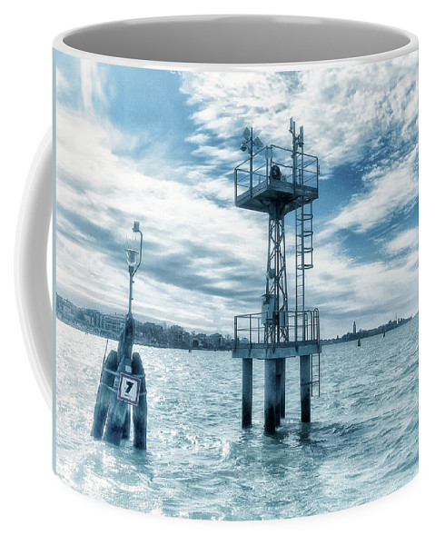 Venice Coffee Mug featuring the photograph Venice - Buoy And Mooring In The Lagoon by Philip Openshaw