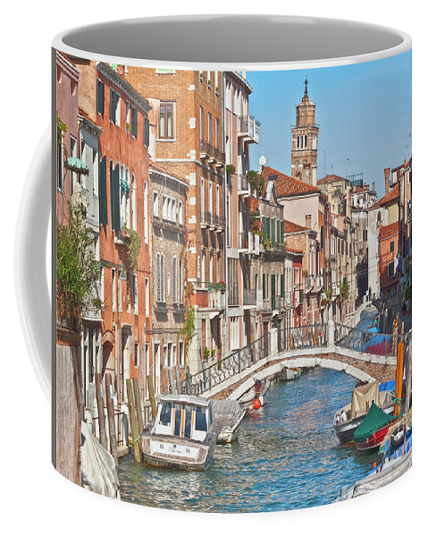 Venice Coffee Mug featuring the photograph Venice Canaletto Bridging by Heiko Koehrer-Wagner