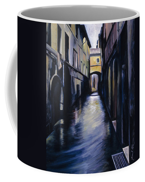 Street; Canal; Venice ; Desert; Abandoned; Delapidated; Lost; Highway; Route 66; Road; Vacancy; Run-down; Building; Old Signage; Nastalgia; Vintage; James Christopher Hill; Jameshillgallery.com; Foliage; Sky; Realism; Oils Coffee Mug featuring the painting Venice by James Christopher Hill