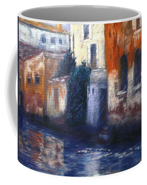 Venice Canals Old World Coffee Mug featuring the pastel Venice Reflections by Pat Snook